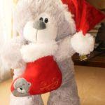 Санта клаус мишка  в колпачке с носком, мягкая игрушка 35 см